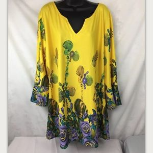 REBORN Women's Tunic Top Blouse Floral Pattern 3X